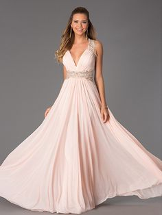 A-Line/Princess V-neck Sleeveless Lace Floor-Length Chiffon Dresses