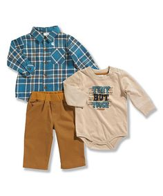 This Blue Plaid Button-Up Set - Infant by Carhartt is perfect! #zulilyfinds