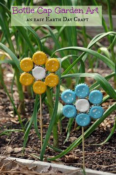 Recycle bottle caps into painted metal petals and plant on wooden skewer stems.