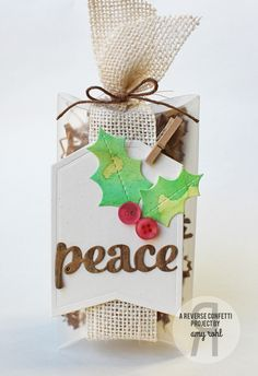 Reverse Confetti   Confetti Cuts - Holly, Winter Words, Tag Me   Frosted Pillow Box   Cappuccino Twine   Amy Rohl