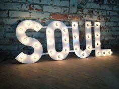 Metal Letters SOUL Light Fixture Tall von WestVintageTradingCo, $336.00