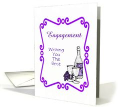 Congratulations-On Engagement-Purple Wine Setting-Customizable Card. Thank you customer in West Yorkshire, United Kingdom!