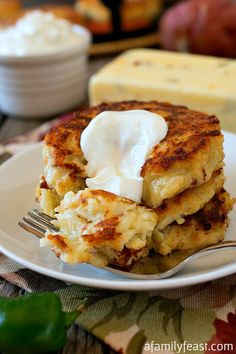 Pepper Jack Potato Pancakes - Crispy, creamy and a little zesty, these potato pancakes are delicious for breakfast or dinner!
