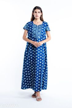 Checkout this latest Nightdress Product Name: *kasya Comfy Jaipur Cotton Nighties * Fabric: Cotton Sleeve Length: Short Sleeves Pattern: Printed Multipack: 1 Sizes: XXL (Bust Size: 48 in, Length Size: 54 in)  Country of Origin: India Easy Returns Available In Case Of Any Issue   Catalog Rating: ★4.1 (350)  Catalog Name: kasya Stylish Women Nightdresses CatalogID_1794382 C76-SC1044 Code: 994-10036563-0921