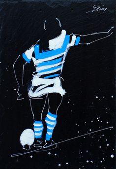 Peinture sur ARDOISE Thématique : Rugby Equipe : Racing 92 Dimension : 32 x 22 #madeinfrance #farklionline