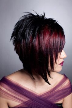 Funky red purple short hair!