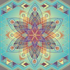 Éveil Mandala, imprimé géométrique, art du mandala, fleur, art de la méditation, paisible, mandala imprimer, art géométrique, rainbow, spiritual art,