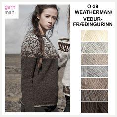O-39 WEATHERMAN / VEÐURFRÆÐINGURINN - Garnmani.no - Spesialist på islandsk garn Beige, Black, Threading, Breien, Pictures, Black People