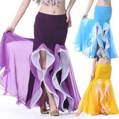 New 2015 Women Fashion Belly Dance Costume Skirt Chiffon Mermaid Ruffle Double Split Long Gypsy Indian Dance Skirts Hot Sale