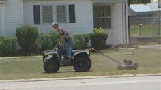 Redneck version of a ride-on lawn mower.