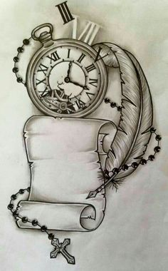 Tatto Clock, Clock Tattoo Design, Tattoo Design Drawings, Tattoo Sketches, Tattoo Designs, Clock Tattoos, Clock Drawings, Drawing Tattoos, Drawing Designs