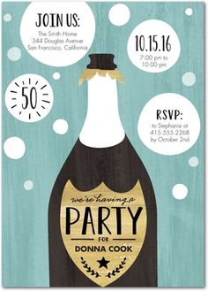 Bubbling Delight - Adult Birthday Party Invitations in Sea Glass or Soft Pink | Magnolia Press