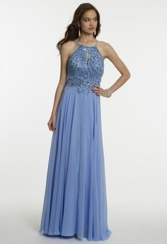 Not sure what we love more...the gorgeous color or the heavenly beautiful bodice. Either way, you'll step into your party as a true style star in this long dress designed by Long Paige. Perfect for all formal occasions like prom, birthday bashes and wedding events, this look scores high in versatility and of course, in on-trend fashion. Features that you'll surely adore include a heavily beaded pearl and crystal bodice combined with a high-neck halter and open back following down into a…