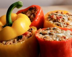 Ground Turkey Stuffed Peppers- These were delicious! I doubled the amount of diced tomato that the recipe called for and they turned out great!