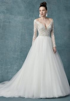 661f866ac30 Long Sleeve Lace Tulle Ball Gown Wedding Dress