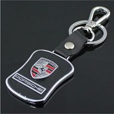 New Porsche Keychain Key Fob Motor Logo Car Accessories Brand Collect Part (Leather Style)