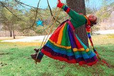 Dream Coat by Katwise -Upcycled Sweater TUTORIAL - Rainbow Gypsy Elf Coat. $9.00, via Etsy.