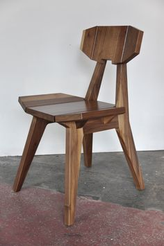 Faceted low back chair in Walnut by VincentEdwardsDesign - Designed in Rhino and produced on the CNC (mostly) #ChairMadera