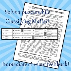 Classifying Matter Coloring and Puzzle Review - Editable ...