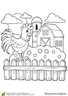 Tu peux rêver de vacances dans la campagne en colorant le coq dans son village