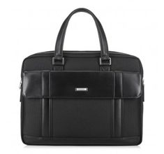 Black laptop bag made of nylon and grain leather   WITTCHEN   89-3U-202
