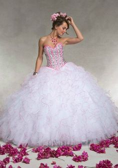 White+Pink Beaded Ball Gown Quinceanera Prom Pageant Party Wedding Dresses #Handmade #BallGown #Formal