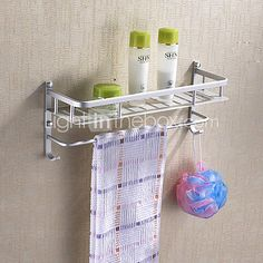 Space aluminum bathroom Towel rack/ aluminium racks/Single layer tray with towel bar-C Shelves Above Toilet, Bathroom Shelves Over Toilet, Towel Rack Bathroom, Bathroom Storage Shelves, Basket Shelves, Cheap Baths, Plate Racks, Kitchen Organization
