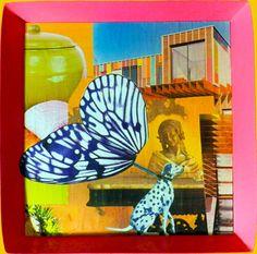 Dalmatien et papillon - 37 x 36.5 cm