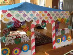 Our holiday gingerbread house, dramatic play Fall Preschool, Preschool Christmas, Christmas Activities, Craft Activities, Christmas Crafts, Dramatic Play Area, Dramatic Play Centers, Hansel And Gretel House, Christmas Drama