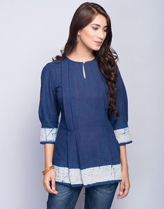 Here are the 15 latest short kurtis for womne in India. Get your best short kurti designs to look stunning in middle of your groups. Short Kurti Designs, Kurti Neck Designs, Kurta Designs Women, Blouse Designs, Cotton Tops For Jeans, Short Tops For Jeans, Cotton Tunics, Stylish Kurtis Design, Kurti With Jeans
