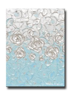 ORIGINAL Abstract Painting Pearl White Blue Wall Art Home Decor Flowers Coastal Textured Artwork