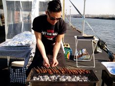 Satay porksateh babi on the grill! May '14 Oosterpark