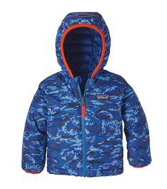 020679561adc4 Patagonia Baby Reversible Down Sweater Hoody El Nino Camo/Viking Blue,  Oishi-m