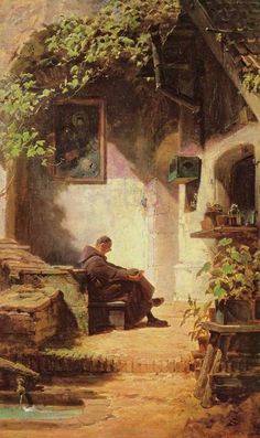 The Athenaeum - The Yawning Monk (Carl Spitzweg - ) Art And Illustration, Carl Spitzweg, Architecture Old, Classical Art, Art Studies, Religious Art, Beautiful Artwork, Figurative Art, Art History