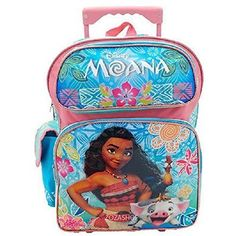 296f82aab3f Girls Rolling Backpack Disney Moana School Travel Lunch Bag Trolley Mesh  Pocket  Disney  Backpack