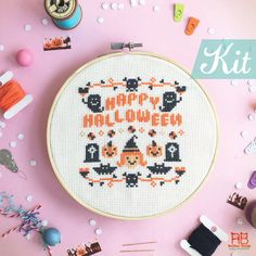 Halloween cross stitch KIT - HAPPY Halloween ** Only want the Pattern, here it is : http://etsy.me/1tIkEDQ  Cross stitch KIT can be a treat for Halloween because its all about Trick or Treat !! A funny and cute Halloween pattern may not need a lot of crazy and scare ghost/monster ( I scare of them..=_= ) but it can be a more fun and cute time. ♥ We do Free gift wrap , just let us know in note to seller  :) ---------------------------------------------------------------- you might be…