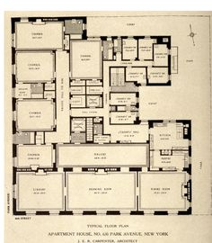 Typical floor plan for 630 Park Avenue, New York