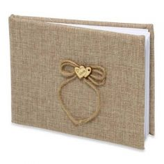 £9.79 Burlap Hessian Guest Book with Love heart