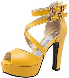 d1372bce948e RAZAMAZA Damen Blockabsatz Gladiator Sandalen Plateau High Heel Party Schuhe  (40 EU, Yellow)