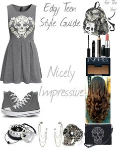 I would kill for these items... The dress with grey converse, and a light pink lipstick, is just, AH-TOO-AMAZIING!