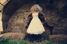 21-short-wedding-dress-lace-veil-stone-wall