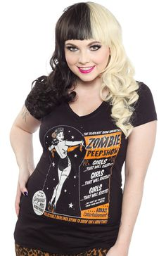 "Steady would like to present the ""Drop Dead Gorgeous Miss Morbid Minnie"" on this fantastic fitting Zombie Peepshow v-neck tee. $25"