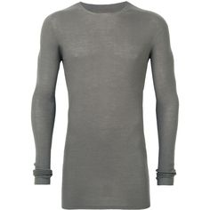 Rick Owens ribbed jumper ($515) ❤ liked on Polyvore featuring men's fashion, men's clothing, men's sweaters, grey, mens ribbed sweater, mens grey crew neck sweater, mens grey sweater, men's crewneck sweaters and mens crew neck sweaters