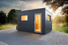 Gartensauna Luna 2 - Außenverkleidung mit HPL-Kompaktplatten Locker Storage, Garage Doors, Shed, Outdoor Structures, Outdoor Decor, Home Decor, Garden, Room, Roof Pitch