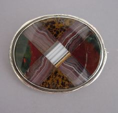 multi-colored agate oval plaid brooch