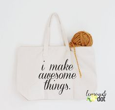"""SAVE 15% with code """"THANKYOU15"""" ❤ """"i make awesome things."""" Zippered Tote Bag  by Lemon & Dot ❤"""