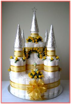 Expensive Looking Castle Diaper Cake for Little Prince
