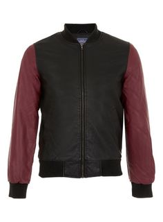 Contrast Leather Look Bomber Jacket  Pompey/Lucio jacket option - needs studs and embellishment