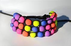 Neon bead 3 rows shambala bracelet at https://www.etsy.com/listing/195500332/3-row-rainbow-bead-shamballa-bracelet