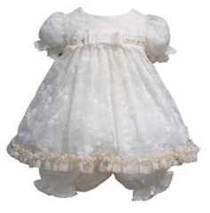 LD1729 Little Darlings Antique Lace Style Dress + Bloomer Set
